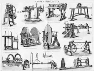 Holzstich: Fassfabrikation mit Maschinen