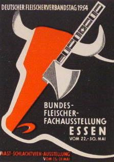 Reklamemarke: stilisierter Rinderkopf und Beil
