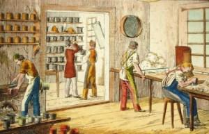 in einer Hutmacherwerkstatt