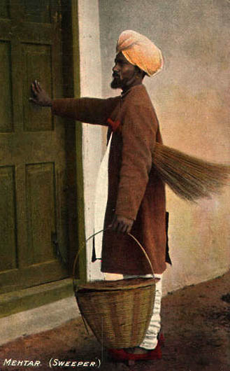 koloriertes Foto: Kaminfeger klopft an Tür
