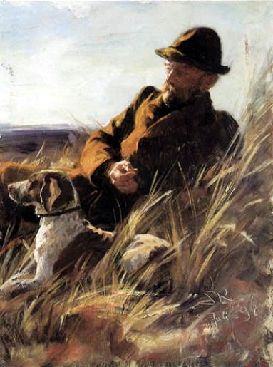 Gemälde: Waidmann mit Hund im Gras