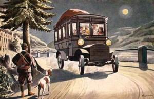 Jäger mit Hund bei Vollmond, vorbeikommendes Automobil