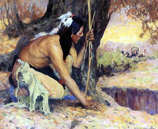 Jäger auf der Lauer hinter Baum
