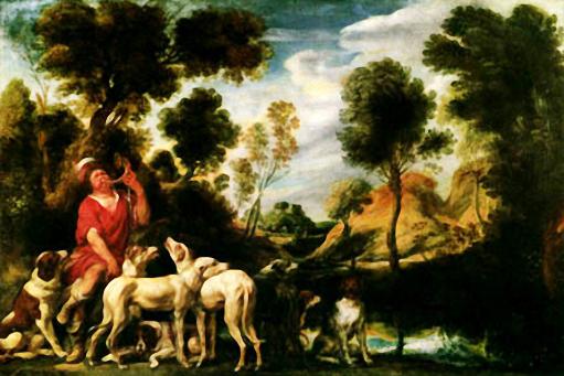 Gemälde: Jäger bläst ins Jagdhorn, mehrere Jagdhunde tummeln sich um ihn