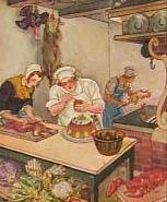 Sammelbild: Koch mit Gehilfen in der Küche