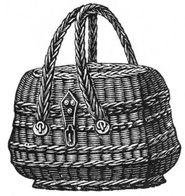 sw-Illustration: Korb mit Henkel