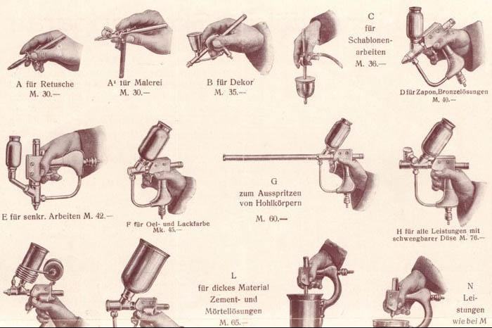 verschiedene Spritzpistolen