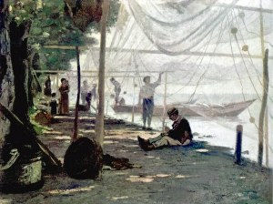 Gemälde: Fischer beim Netzflicken