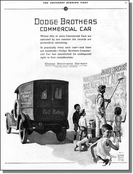 Illustration, Plakatierer mit Auto, englischer Text