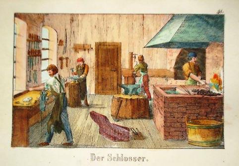 kolorierte Zeichnung: handwerken in der Schlosserei