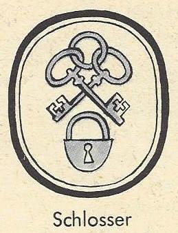 Zunftzeichen mit zwei Schlüsseln und einem Schloss