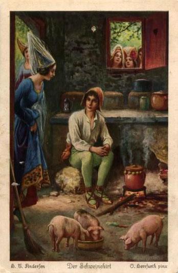 Schweinehirt bekommt besucht von edler Dame