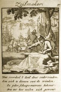 alter Stich von 1750: Seiler bei der Arbeit - dazu niederländischer Text