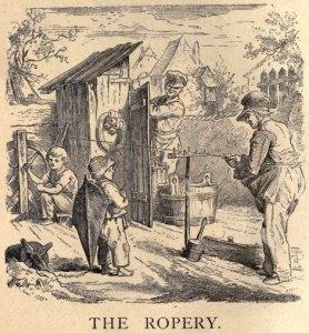 sw-Illustration: drei Seilmacher beim Seildrehen