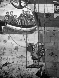 sw-Abb.: Taucher repariert Schiff Unterwasser