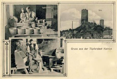 Foto: drei Abbildungen der Töpferstadt Kohren