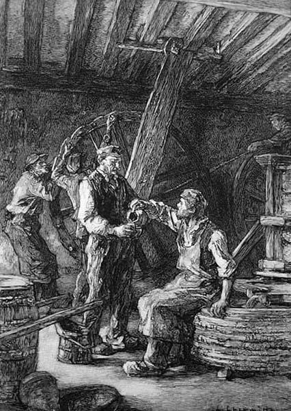 Stich: an der Weinpresse bei der Weinverkostung