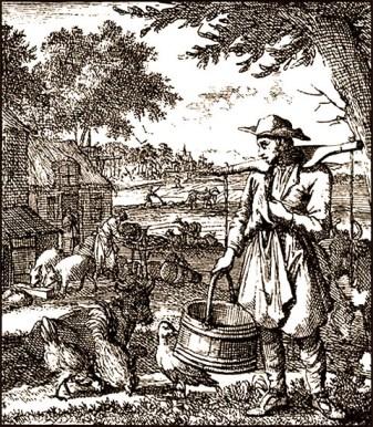 Kupferstich: landwirtschaftliche Arbeiten