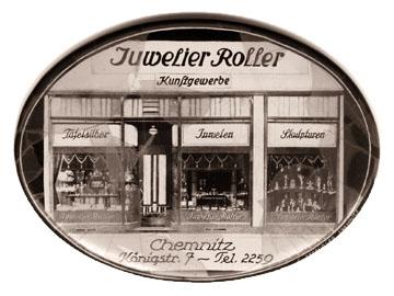 altes sw-Foto mit der Ladenansicht des Juwelier Roller in Chemnitz