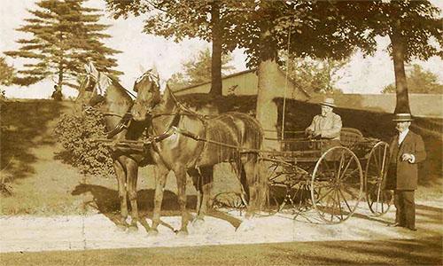 altes Foto: auf Weg unter Bäumen einfaches Kutschgefährt, auf Kutschbock sitzender und daneben stehender Herr rauchend