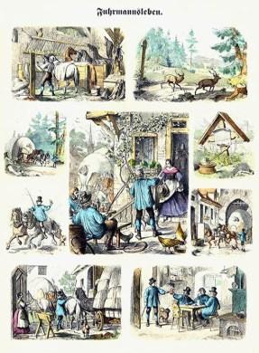 Bilderbogen: Fuhrmannsleben - verschiedene Szenen: mal unterwegs, be- und entaden, Pferde versorgen, im Rasthof, beim Bier mit anderen Kutschern