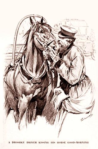Zeichnung: Droschkenkutscher steht neben seinem Pferd, tätschelt dessen Kopf und redet mit ihm