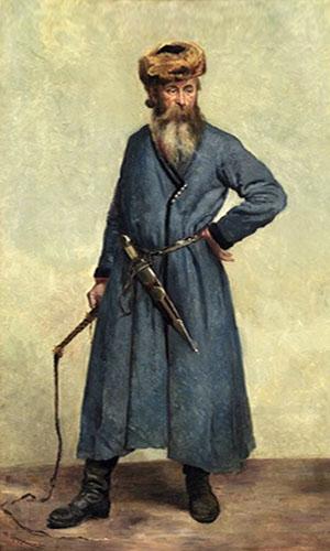 stehender Kosake in langem blauen Mantel, Fellmütze und Stiefel, Dolch am Gürtel und Pferdepeitsche in der Hand