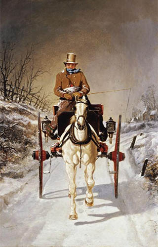 Ölbild: Frontalansicht, weißes Pferd, Kutscher auf Kutschbock in Decken gewickelt, dicker Schal um den Hals, Schnee auf Zylinder, verschneite Winterlandschaft