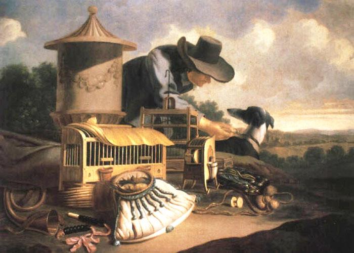 Gemälde: Vögelfänger kniet zwischen Jagdutensilien und Jagdhund