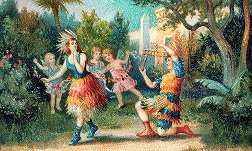 Farbdruck: Bühnendarstellung von PAPAGENO und PAPAGENA im Wald