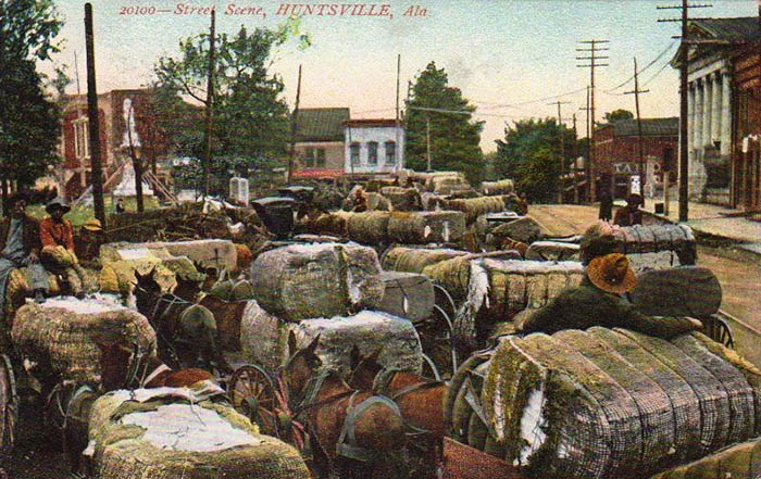 Baumwollballen auf Karren und Wagen