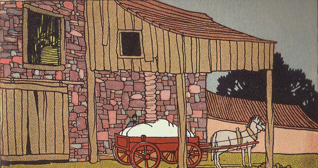 Kinderbuch-illu: Baumwolle auf einen Pferdekarren geladen
