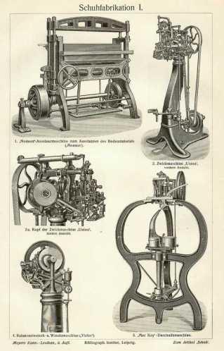 alter Stich: Maschinen zur Schuhfabrikation