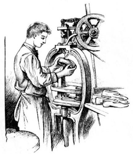 sw-Zeichnung: Schuhmacher stellt Schuh an einer Maschine her