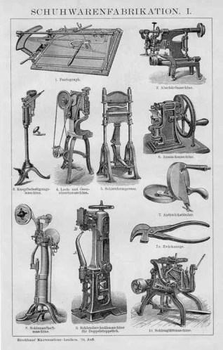 alter Stich: Schuhwarenfabrikation: Maschinen zur Schuhherstellung