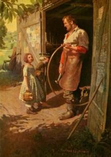 farbige Illu: Stellmacher mit Reifen in seiner Hand: Kinder gucken neugierig in seine Werkstatt