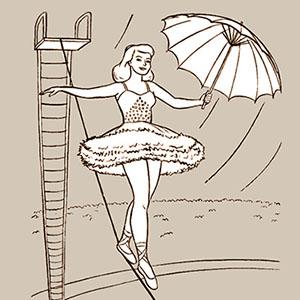 s/w Illustration: Seiltänzerin mit Schirm balanciert über ein Drahtseil