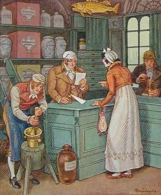 Sammelbild: zwei Apotheker mischen Medizin an; Ein Apotheker liest das Rezept einer Kundin und hält ein Fläschen bereit.