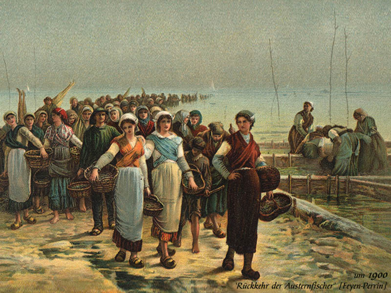 Gemälde: Die zurückkehrenden Austerfischern werden von den Frauen abgeholt