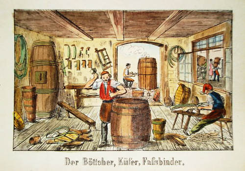 alte farbige Illustration: Böttcher stellen Fässer in der Werkstatt her.