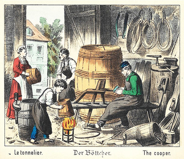 alte Zeichnung: bei der Fassherstellung