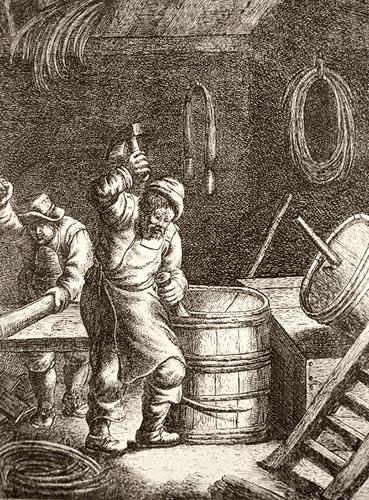 alter Holzstich: zwei Böttcher arbeiten an Fässern