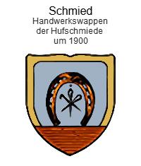 Handwerkswappen, um1900: gelber Rand, rotes Mauerwerk als Wappenspitze, darüber Hufeisen, in dessen Mitte Werkzeug
