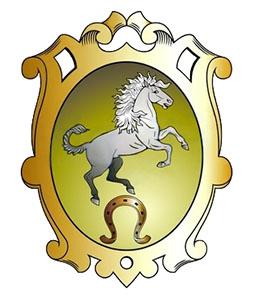 Handwerkszeichen: sich aufbäumendes Pferd, darunter goldenes Hufeisen