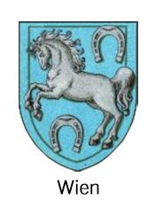 Handwerkszeiche von Wien: Wappen, auf hellblauem Grund weißes, sich aufbäumendes Pferd, darüber und darunter silbernes Hufeisen