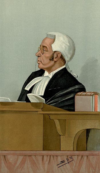 farbige Zeichnung: bebrillter Richter mit Perrücke hört konzentriert zu