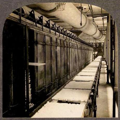 s/w Foto: Zuckerhut-Trockenanlage in einer Raffinerie