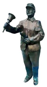 Bronzefigur: Ausscheller mit großer Handglocke