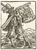 Holzschnitt: herrschaftlicher Ausrufer mit Fanfare - 1641