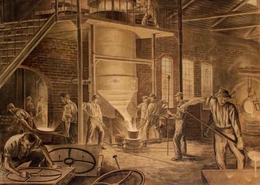 reges Treiben in der Eisengießerei: einige Arbeiter am Hochofen, andere tragen das flüssige Eisen weg; ein Arbeiter arbeitet eine Form nach